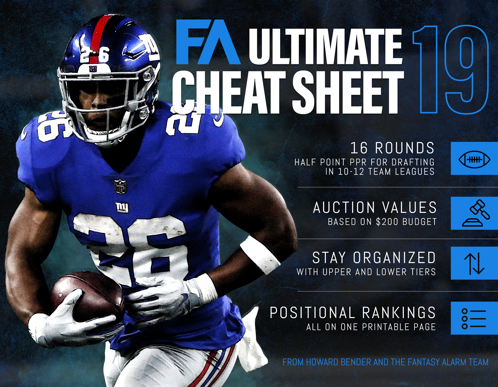 picture about Fantasy Football Cheat Sheet Printable known as 2019 Howard Bender NFL Greatest Cheat Sheet Myth Alarm